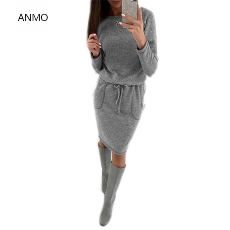 ANMO New Style Women Warm Knitted Sweater Dresses Casual O-Neck Autumn/winter Dress Bodycon Pockets Sashes Thicken Dress hot sell winter warm knitted cap camouflage cotton fashion skullies thicken skullies beanies hats for women 2 style 8409