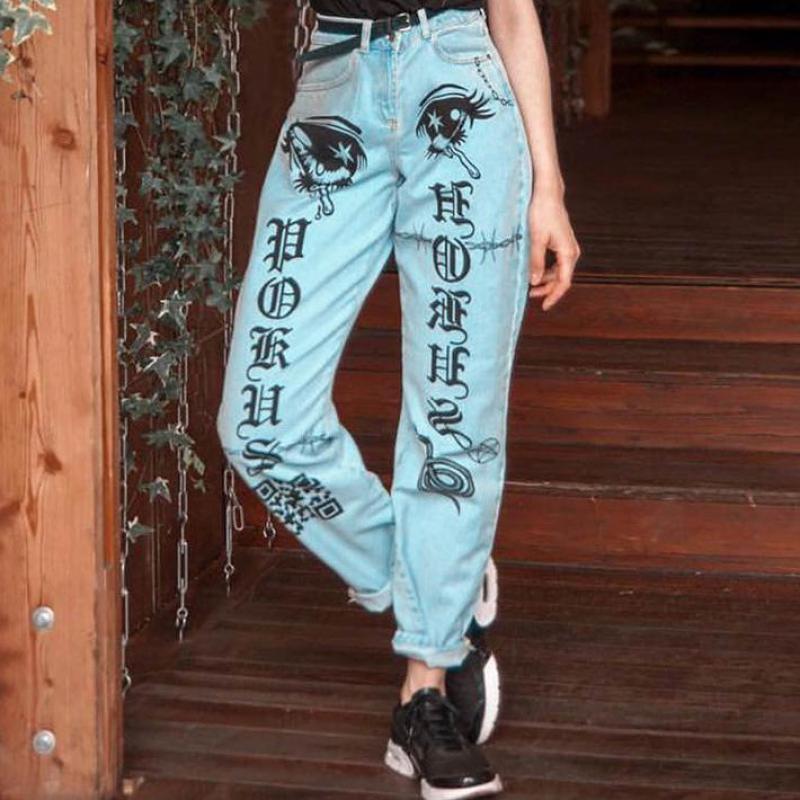 1562f34234 Azul Las Mujer Denim Sky Recta Vaqueros 2019 Blue Ojos Jeans Mujeres De 840  Nueva Estampado ...