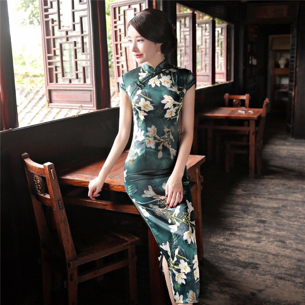 US $33.0 34% OFF|Shanghai Geschichte Kurzarm nationalen trend kleid chinesischen stil Floral cheongsam Lange Qipao chinesisches traditionelles