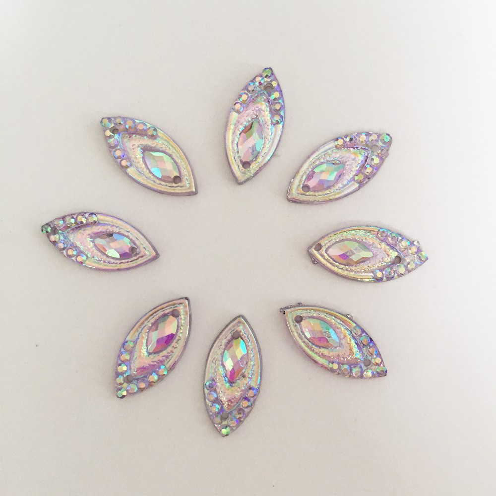 AB Resin 200PCS 7*15mm horse eye Flatback Rhinestone Wedding decoration 2 hole diy craft D223*5
