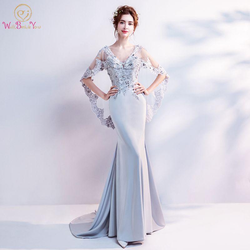 Walk Beside You Silver Evening Dresses Wrap Lace Applique Beaded ...