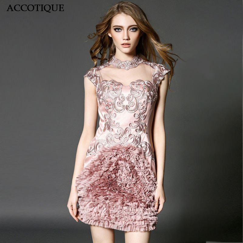 High Quality Women s Spring Summer Fashion Stand Collar Embroidery Beads Dress Female Silk Discoid Flowers