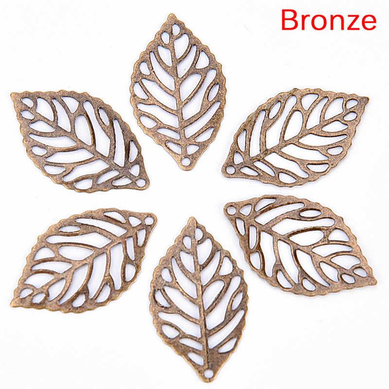 50 יח'\חבילה פרחי Slice עלים קסמי הגדרת תכונות תכשיטים לבן, זהב, ברונזה עתיק ברונזה מתכת פיליגרן 23.5*13.5 MM