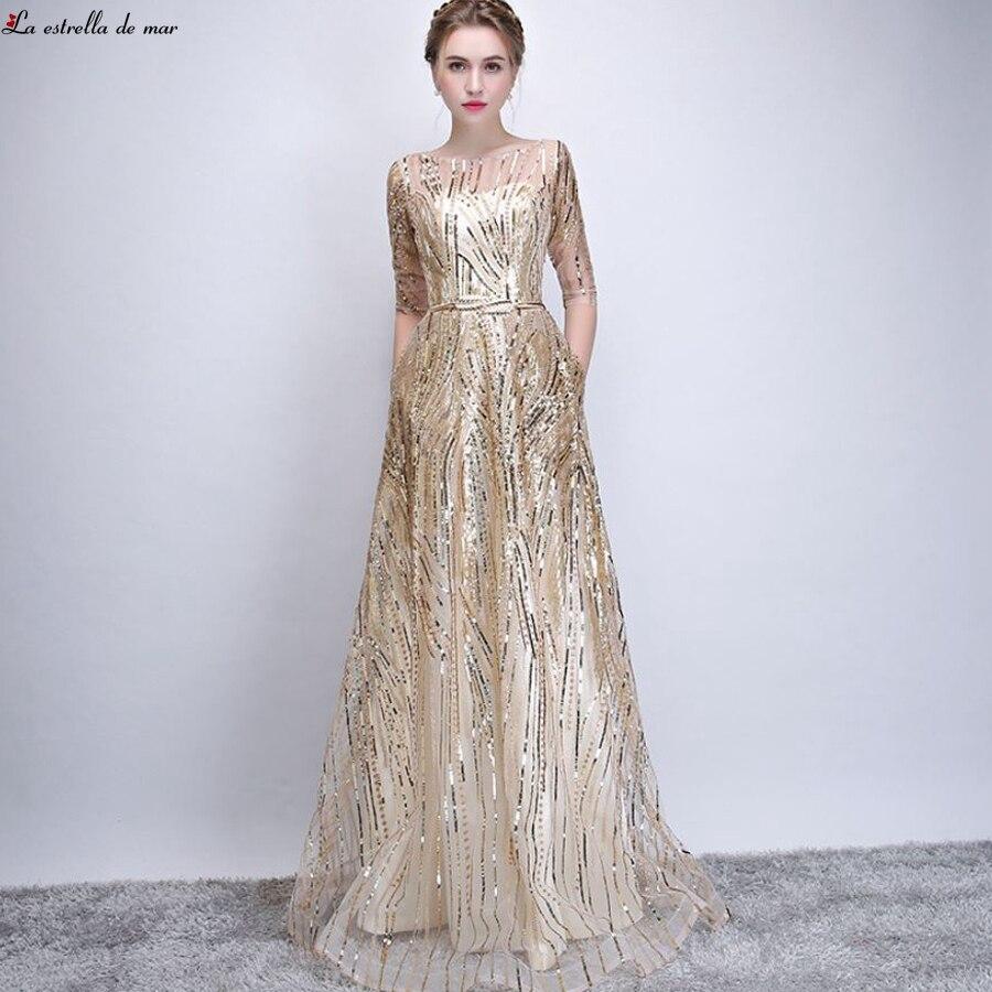 Brautjungfernkleid 2019 New Lace Sequin Half Sleeve A Line Champagne Gold Bridesmaid Dress Long Plus Size Vestido Madrinha