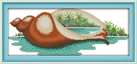 The Scenery In The Conch Embroidery Threads Printed Cross Stitch Landscape Embroidery Needlework Sets Wall Decor
