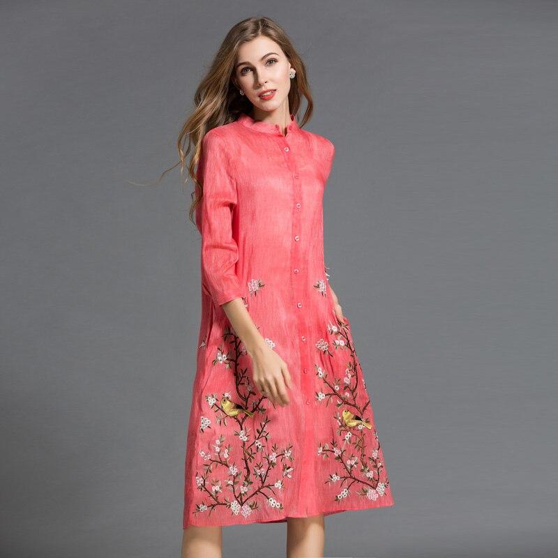 De Broderie Trimestre Pliableness Robes Lin Twinset Soie Femmes Robe Red Confortable Trois Impression Manches Midguts Romantique Vêtements zqrzPwxtg