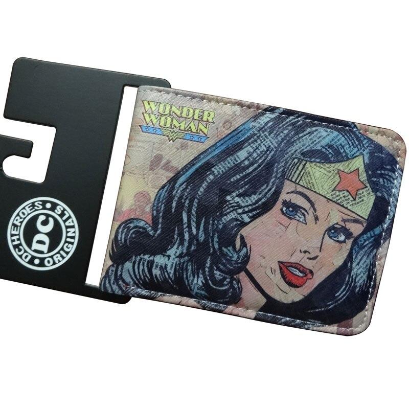 Fashion Anime Wallets Cartoon Movie Wonder Woman Printing Purse carteira Casual Style Kids Girls Women PU Leather Short Wallet