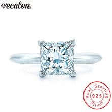 Vecalon ручной работы Настоящее 925 пробы Серебряное кольцо Принцесса огранка 1ct Sona 5A Циркон Cz обручальное кольцо кольца для женщин