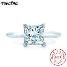 Vecalon ручной работы 100% реальные 925 пробы Серебряное кольцо Принцесса cut 1ct Сона 5A Циркон Cz обручение обручальное кольца для женщин