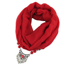 Ahmed Fashion New Muslim Cotton Scarf Necklaces Metal lock Beads Pendant Statement Necklace for Women Jewelry Bijoux