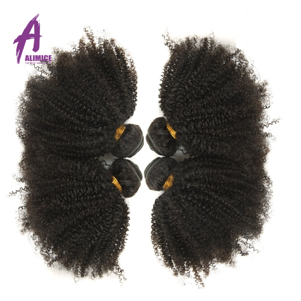 Indian Hair Afro Kinky Curly Hair Extensions 100 Human Hair Bundles Alimice Remy Afro Hair Weaves
