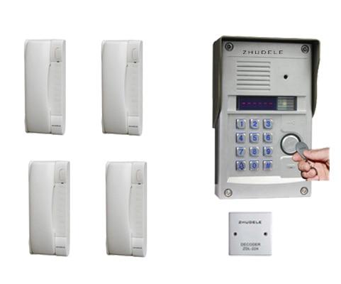 327r Outdoor Station Mit Passwort Hohe Belastbarkeit Brillant Zhudele Top Qualität 4-wohnungen Intercom System Home Security Audio Tür Telefon Kits 008a Sicherheit & Schutz
