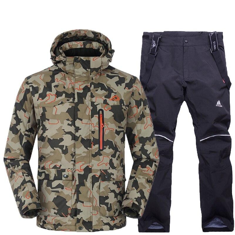 Hommes veste de Ski + pantalon coupe-vent imperméable Sport de plein air porter Super chaud Snowboard Ski costume épaissir Sport de plein air porter costume ensemble