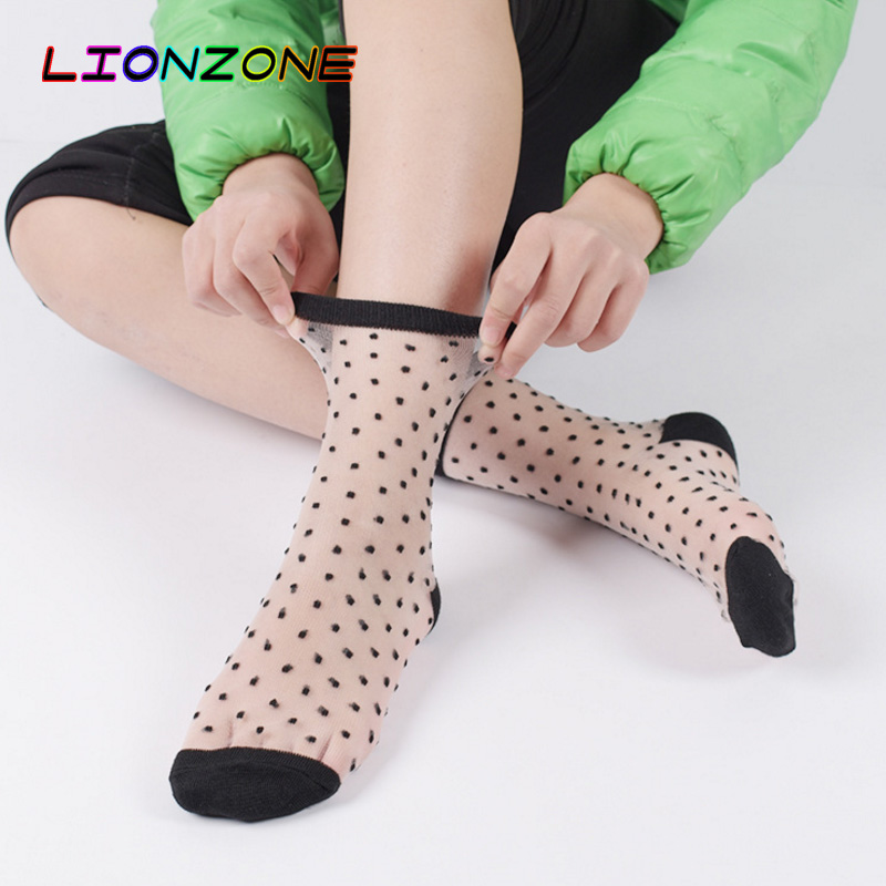 LIONZONE Korean Style Lace Transparent Crystal Women Socks Different Style Comfy Sheer Silk Harajuku Funny Sock Calcetines Mujer