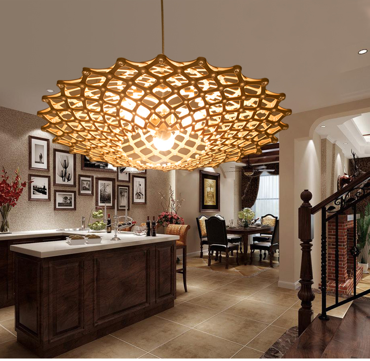 Compare prices on saucer pendant lamp online shopping buy for Wooden dining room light fixtures