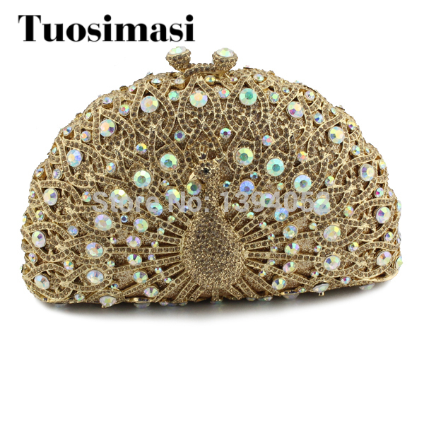 Newest hot selling colorful peacock clutch bags rhinestone clutch purse (8105A-G2) shining rhinestone peacock colorful femininity earrings golden pair