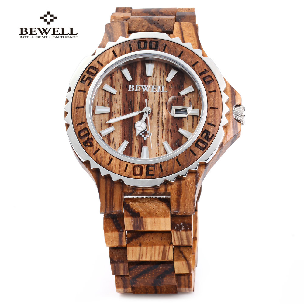 New BEWELL Luxury Wooden Men Quartz Watch Waterproof Luminous Hands Calendar Sandalwood relogio masculino Male Dress Watches ultra luxury 2 3 5 modes german motor watch winder white color wooden black pu leater inside automatic watch winder