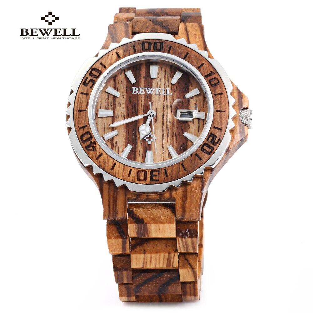 Nouveau BEWELL luxe en bois hommes montre à Quartz étanche lumineux mains calendrier bois de santal relogio masculino mâle robe montres
