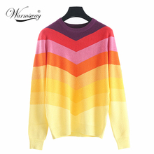 d7787ccda1 WARMSWAY 2018 Spring sweater female rainbow gradient wide stripe full sleeve  knitting