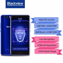 "Blackview P6000 Smartphone 5.5 ""16:9 FHD Visage ID Helio P25 Octe base 6180 mAh 6 GB 64 GB 21MP Double Cames Android 7.1 4G Mobile téléphone"