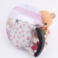 The New Automatic Retractable Dog Leash Pet Dog Supplies Traction 4 5M With Pink Footprints Style