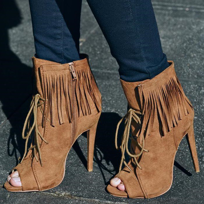 hot selling suede leather tan blue color fringe short boots lace up ankle drape tassel decorated open toe ankle booties