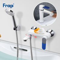 Frap Bath Shower Waterfall Faucet Wall Mount White Bathroom Shower Basin Sets Mixer Tub Faucet Rubber Handle Cover F3234 Set