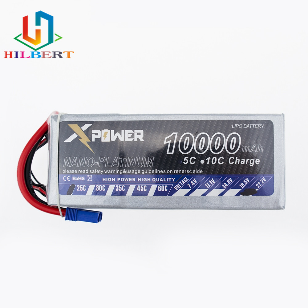 2 Pcs Xpower Lipo 22.2V 10000Mah Lithium Battery EC5 or T or XT60 plug For RC Helicopter Qudcopter Drone Car Boat Bateria image
