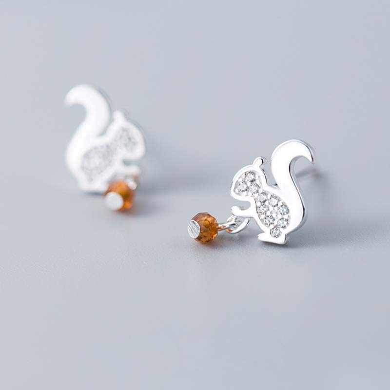 925 Sterling Silver Squirrel Stud Earrings for Women Cubic Zircon Animal Small Earring Fashion Jewelry  Girls Gift  Wholesale