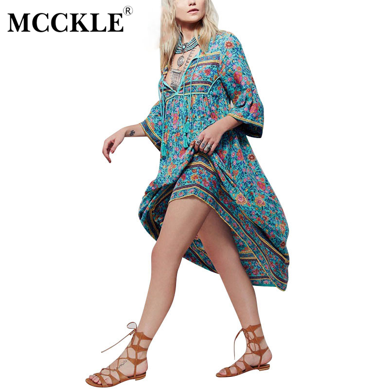 MCCKLE Summer Women Baroque Sexy Floral Print Boho Hippie Dress European Casual Loose Flower Retro Maxi Ethnic Beach Dresses
