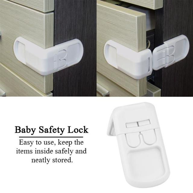 5Pcs/Set Baby Safety Cabinet Locks Double Button Drawer Door Locks Kids Children Safety Protection Plastic Proof Lock Baby Care
