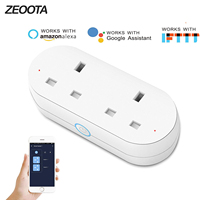 WiFi Smart Plug Outlet Dual UK Socket Plug Voice Remote Control Timer Function Homekit Compatible with Alexa,Google Home IFTTT