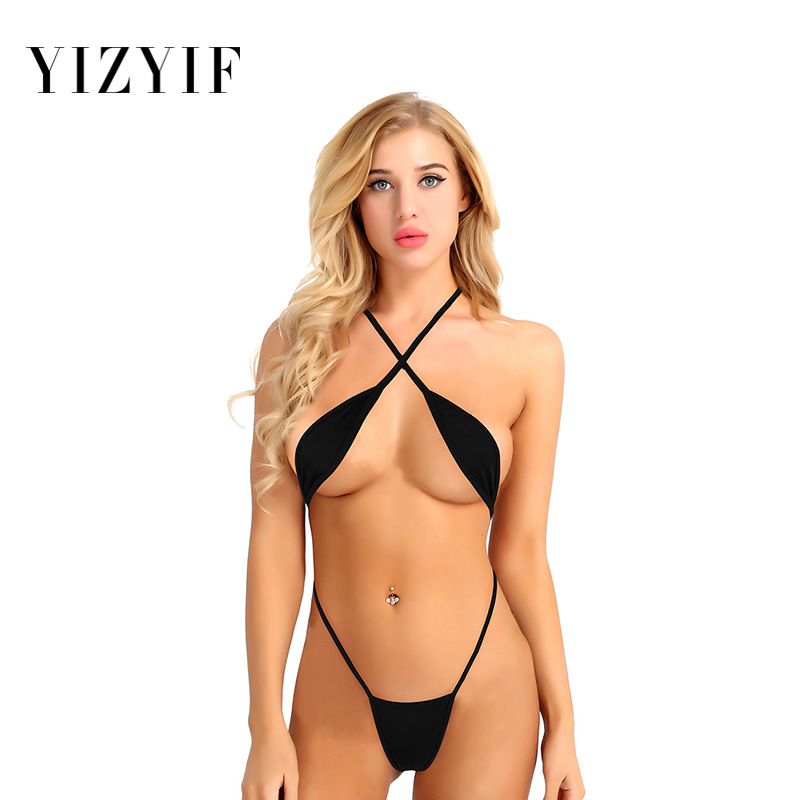 Mini micro bikini tanga Women 2019 swimsuit Bikini Set Lingerie Teeny Sling Shot strappy Criss Cross Backless swimwear Women