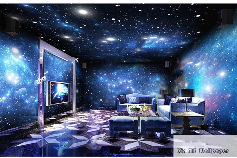 Large Starry Night Sky Star Space 3D Wallpaper Mural Rolls Prints On Embossed Wall Paper Livingroom Cover Household Decor In Wallpapers From Home