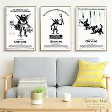 цены на Gremlins 3 Pcs Black and White Posters And Prints Wall Art Canvas Painting For Living Room Decoration Home Decor Unframed Quadro  в интернет-магазинах