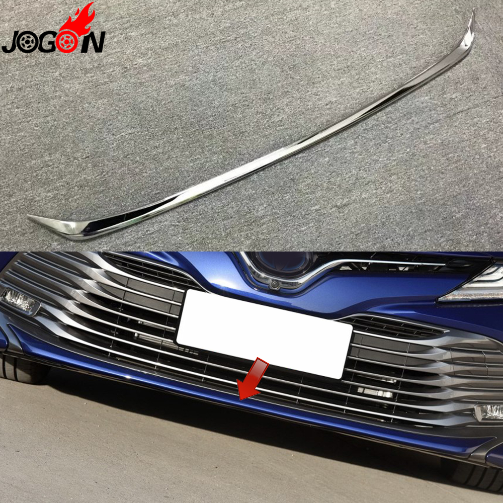 цена на For Toyota Camry XV70 2018 Car Styling Front Bumper Molding Protector Stripes Trim Accessories Bright Silver ABS Chrome