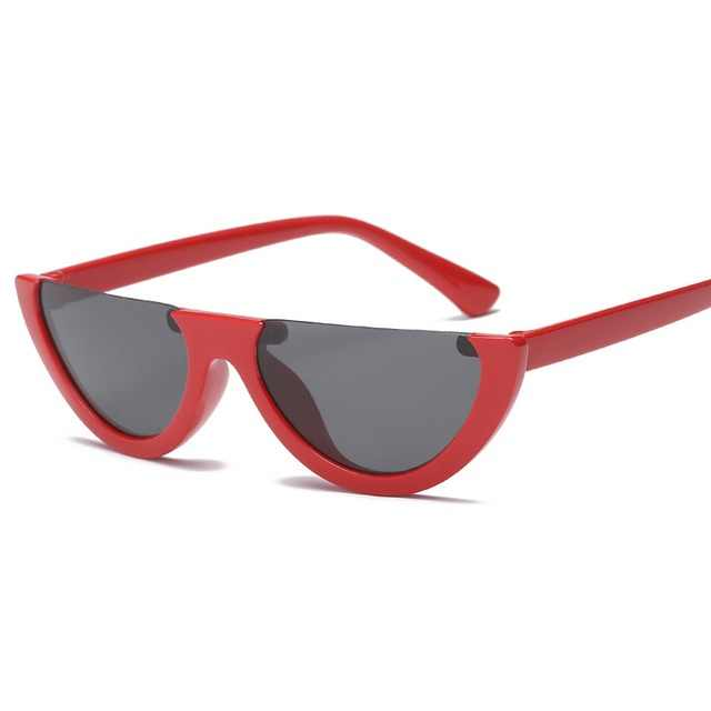 Keren 2020 Setengah Bingkai Kacamata Hitam Mata Kucing Wanita Fashion Merek Desain Kacamata Permen Warna Lensa Berjemur Kacamata Cermin