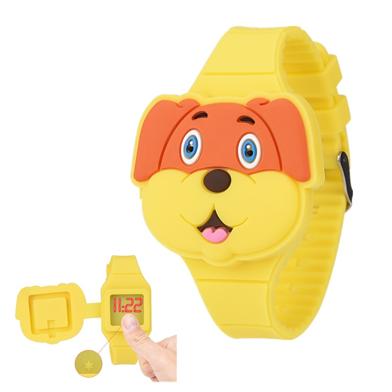 Cute 3D Cartoon Dog Kids Watches Boys Girls Childrens LED Digital Wrist Watches Baby Flip Silicone Watch Kid Toy Clock Gifts PJ dog shaped retro digital flip page gear clock 1 x d battery