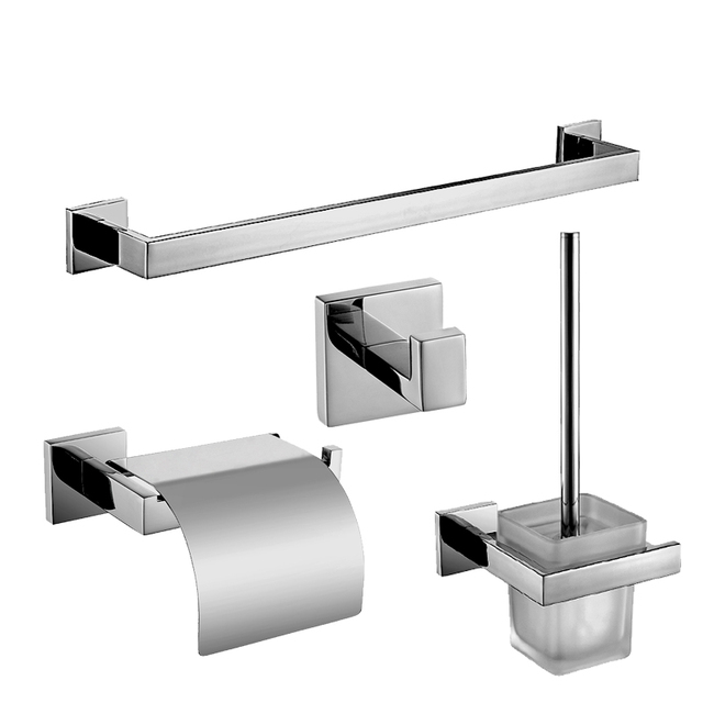 modern sus304 square base bathroom accessories polished chrome toilet paper holder towel bar bathroom products