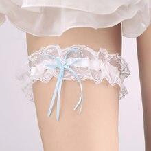 0a9163a28b Liga de boda azul arco Diamante de imitación encaje blanco Sexy ligas para  mujer mujer novia accesorio muslo anillo nupcial grad.