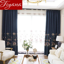 Window Curtains For Modern Living Room Embroidered Voile Sheer Floral Curtain Tulle Fabrics Drapes Custom Made