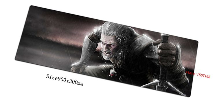 JARKU 900x300x3mm witcher mouse pad gaming mousepad gamer mouse mat locked edge pads game computer padmouse