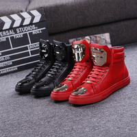 M en's autumn and winter boots increased within Europe and  British heavy-bottomed high-top boot  lace casual  genuine tide
