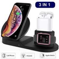 Tongdaytech 10W Qi Chargeur sans fil pour Iphone X XS XR 8 Plus 11 Pro Max 3 en 1 Chargeur rapide Charge rapide pour Apple Watch Airpods 4 3 2 1 Cargador Inalambrico