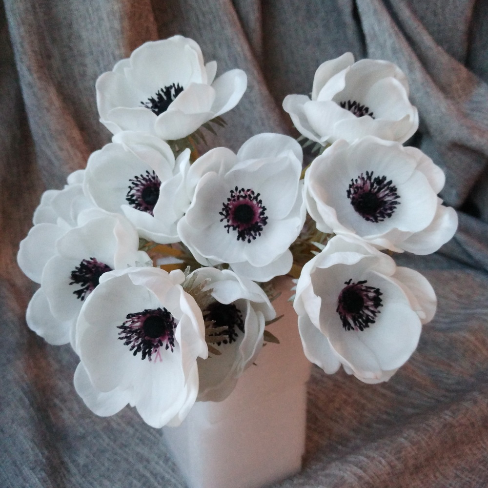 10 진짜 터치 꽃 흰색 아네모네 결혼식 꽃 테이블 Centerpieces 자연 PU 꽃 흰 아네모네