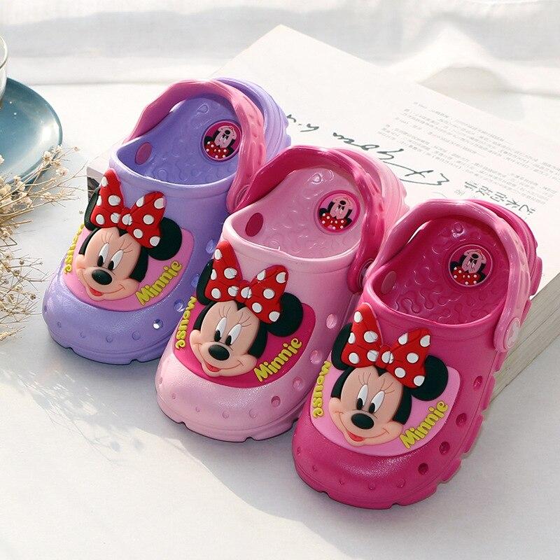 Disney LED Flash Children Cool Slippers Cartoon Girls Sandals Summer Non-slip Bathroom Beach Minnie Hole Shoes Size 24-35