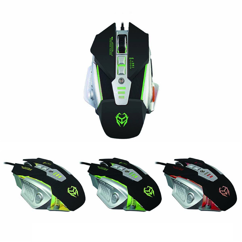 Gaming Mouse 3200DPI Optical Adjustable Button Wired Mechanical flashing Mice For PC mechanical mouse White/Black