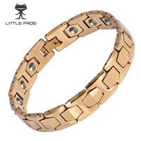 LITTLE FROG 15 PCS 99.9999% Germanium Bracelet Men Chain Link Health Energy Magnetic Tungsten steel Bracelets Bangle 10146