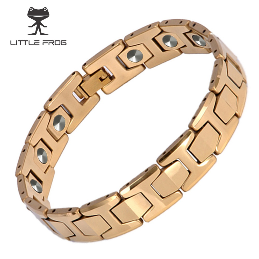 LITTLE FROG 15 PCS 99.9999% Germanium Bracelet Men Chain Link Health Energy Magnetic Tungsten steel Bracelets Bangle 10146