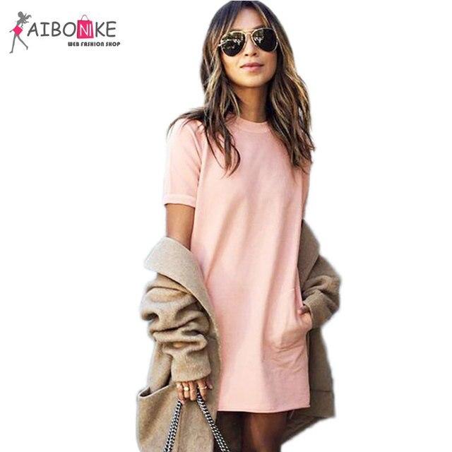 Roze jurk met korte mouw